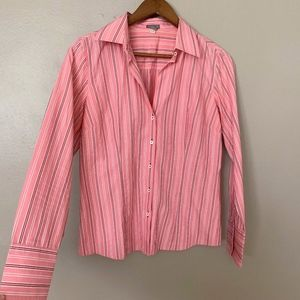 Ann Taylor Pink Striped Button Down Career Blouse